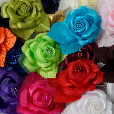 12pcs Yellow Satin Ribbon Rose Flower Pearl Spray Wedding Appliques Sewing Decor Craft Supplies