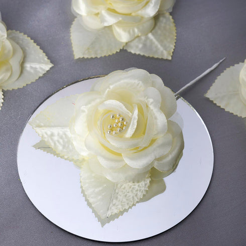 12pcs Yellow Satin Ribbon Rose