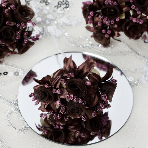 72 Artificial Chocolate Shimmering Organza Craft Roses