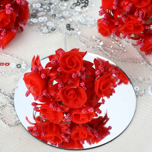 72 Artificial Red Shimmering Organza Craft Roses