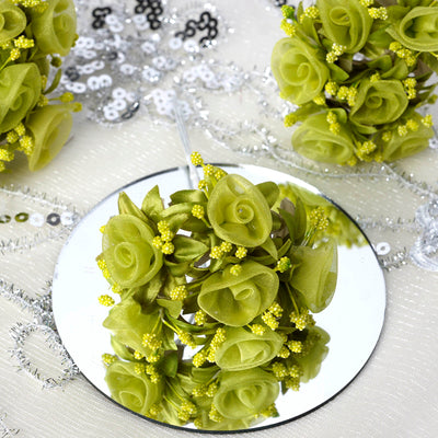 72 Artificial Sage Green Shimmering Organza Craft Roses