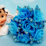 72 Shimmering Organza Rose Craft Flowers - Turquoise