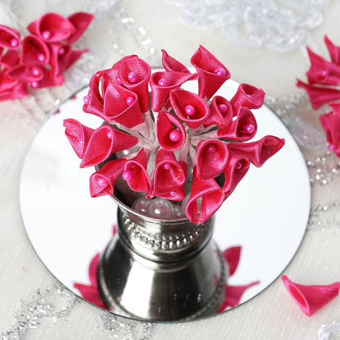 12pcs Fuchsia Mini Satin Ribbon Calla Lily