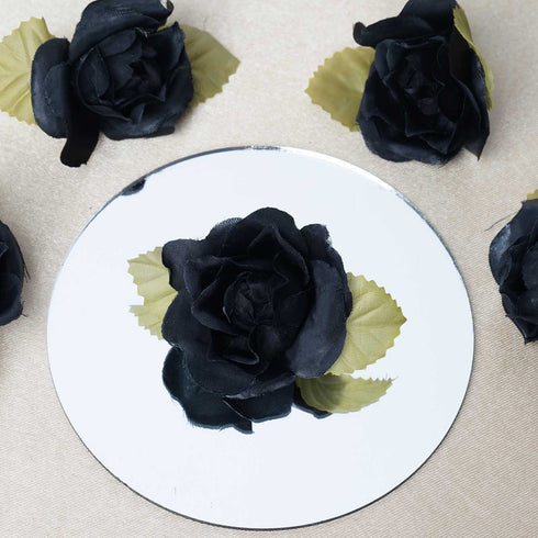 12pcs Black Mini Silk Ribbon Rose