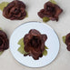 12pcs Chocolate Mini Silk Ribbon Rose