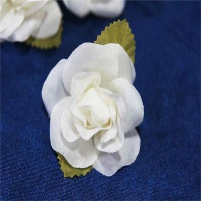 12pcs Ivory Mini Silk Ribbon Rose Flower Leaf Wedding Appliques Sewing Decor Craft Supplies