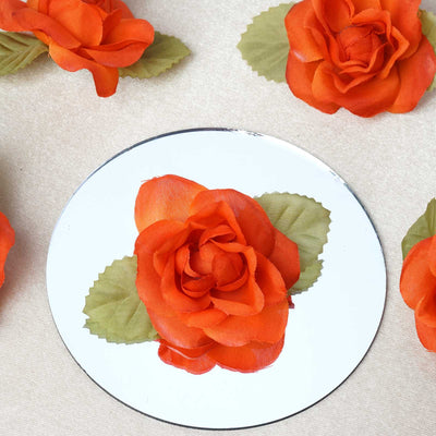 12pcs Orange Mini Silk Ribbon Rose Flower Leaf Wedding Appliques Sewing Decor Craft Supplies