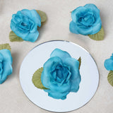 12pcs Turquoise Mini Silk Ribbon Rose