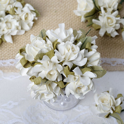 60 Ivory Mini Paper Rose Flowers