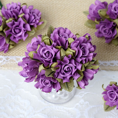 60 Lavender Mini Paper Rose Flowers Corsage and Boutonniere Wedding Home Craft Decor