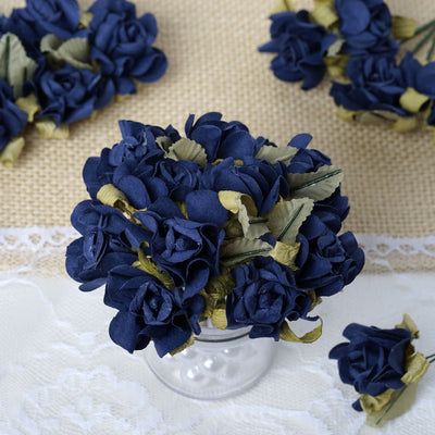 60 New Blue Mini Paper Rose Flowers
