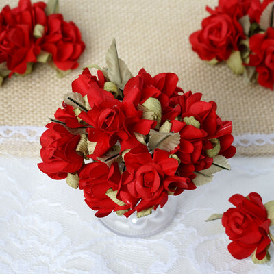60 Red Mini Paper Rose Flowers