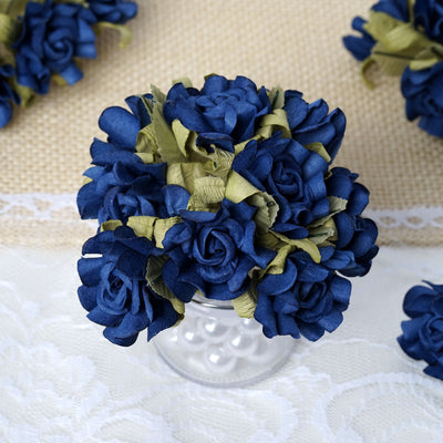 60 Royal Blue Mini Paper Rose Flowers