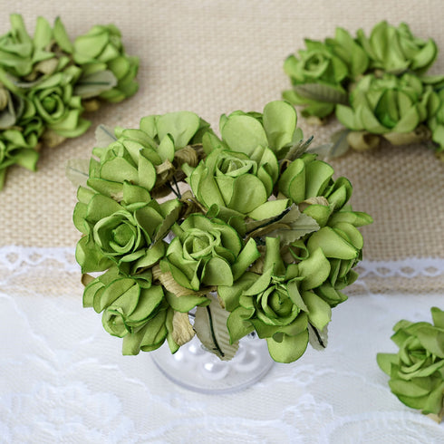 60 Sage Green Mini Paper Rose Flowers
