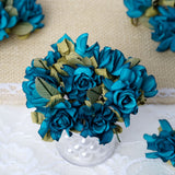 60 Turquoise Mini Paper Rose Flowers