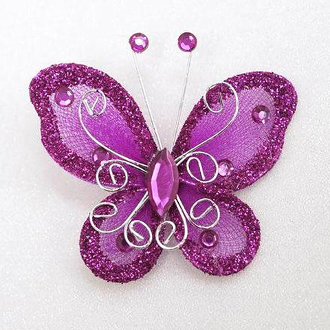 12 Diamonds & Prosperity Butterflies - Fushia