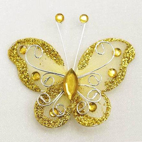 12 Diamonds & Prosperity Butterflies - Gold