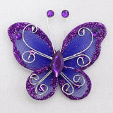 "12 PCS 2"" Crystal studded Purple Organza Butterflies"