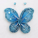 "12 PCS 2"" Crystal studded Turquoise Organza Butterflies"