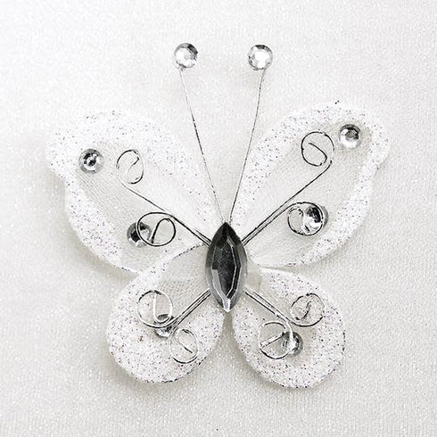 "12 PCS 2"" Crystal studded White Organza Butterflies"