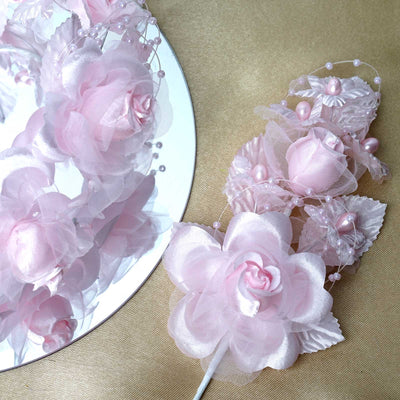 Bridal Faux Pearls Hair Floral Spray Headpiece - Pink - 12pcs