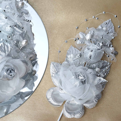 "12 Pack 8"" Silver Bridal Hair Side Comb Floral Barrette Headpiece Wedding Accessory"
