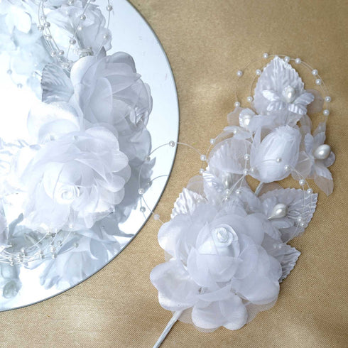 Bridal Faux Pearls Hair Floral Spray Headpiece - White - 12pcs
