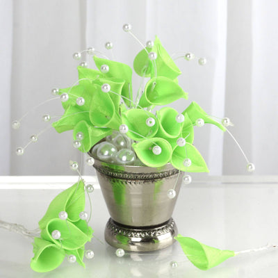 72 Artificial Floral Calla Lily Bead Flowers - Apple Green