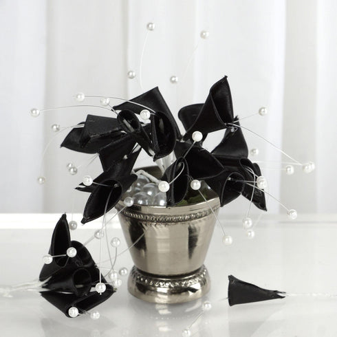 72 Artificial Floral Calla Lily Bead Flowers - Black