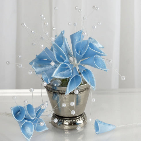 72 Light Blue Artificial Floral Calla Lily Bead Flowers -  Light Blue