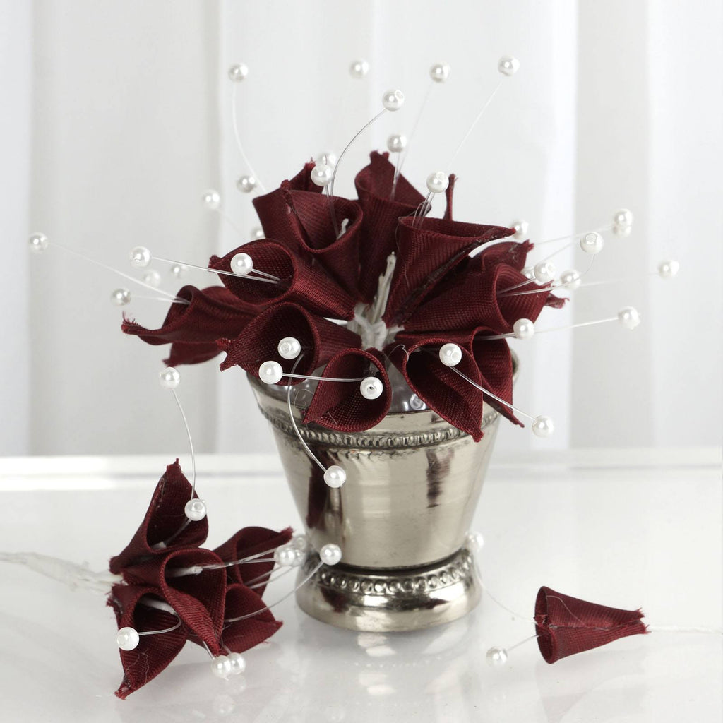 72 Burgundy Artificial Floral Calla Lily Bead Flowers Wedding Home Craft Decor