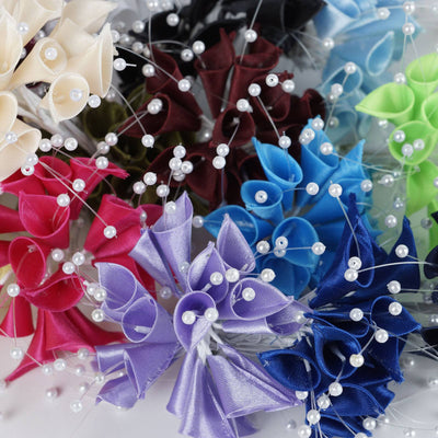 72 Artificial Floral Calla Lily Bead Flowers - Chocolate