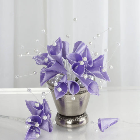 72 Lavender Artificial Floral Calla Lily Bead Flowers Wedding Home Craft Decor