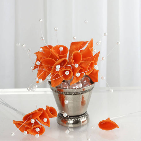 72 Artificial Floral Calla Lily Bead Flowers - Orange