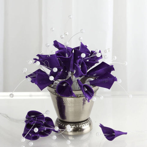 72 Artificial Floral Calla Lily Bead Flowers - Purple