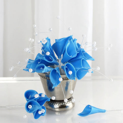 72 Artificial Floral Calla Lily Bead Flowers - Turquoise