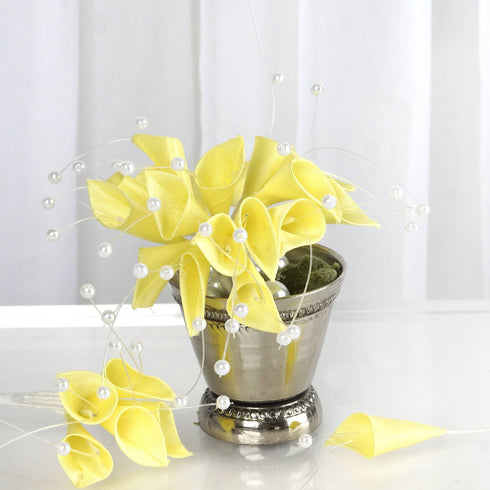 72 Artificial Floral Calla Lily Bead Flowers - Yellow