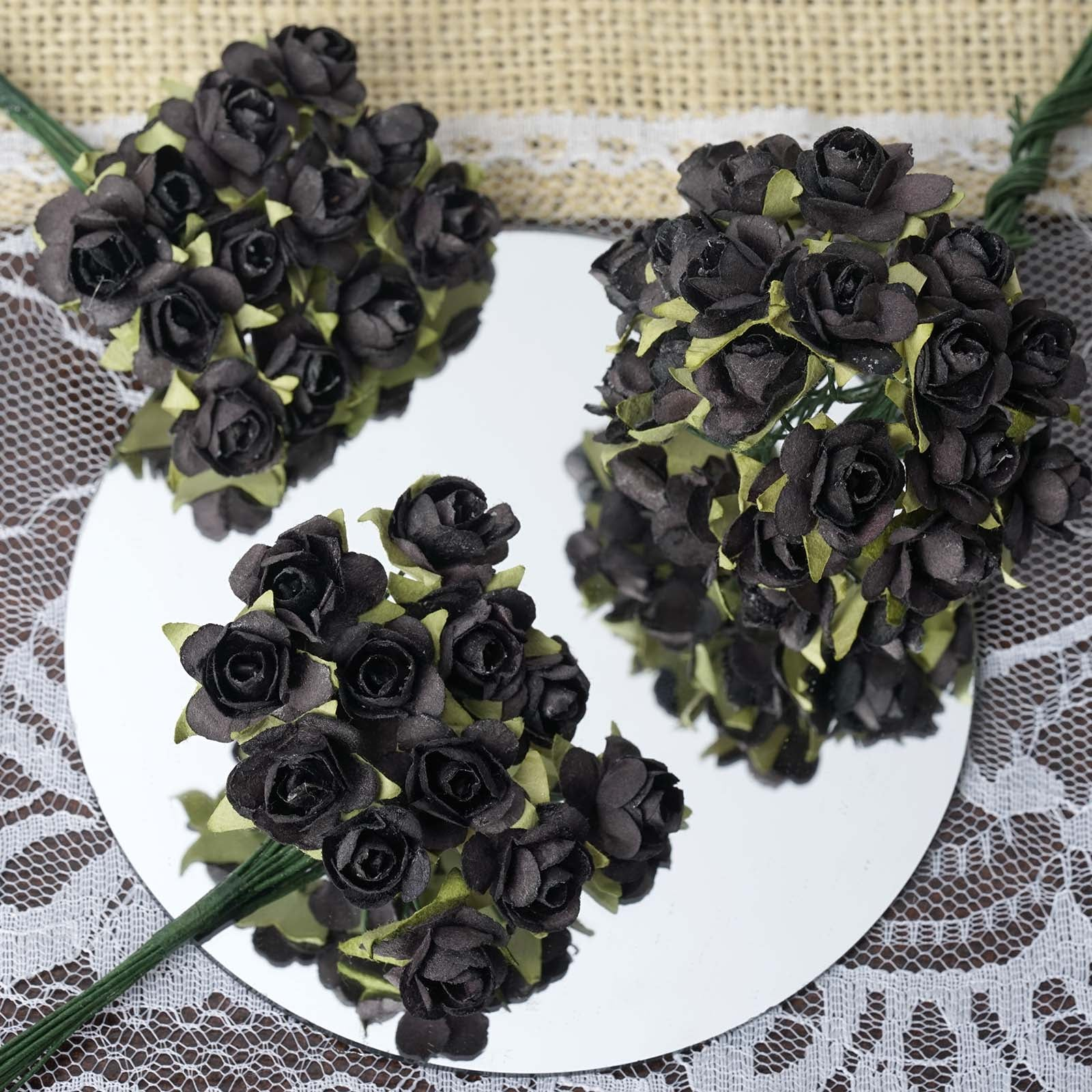 Paper flower wholesale craft flowers efavormart 144 black paper mini flower roses mightylinksfo