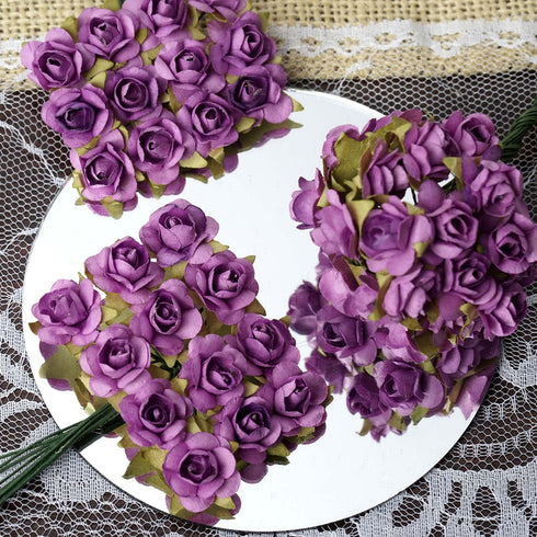 144 Lavender Paper Mini Flower Roses For DIY Wedding Card Craft Party Favors Decorations