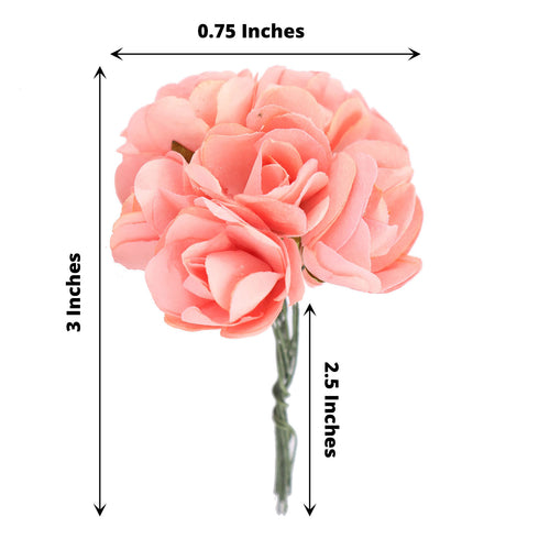 144 Pink Paper Mini Flower Roses