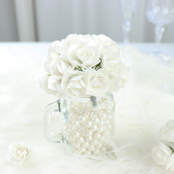 Paper flower wholesale craft flowers efavormart 144 white paper mini flower roses mightylinksfo