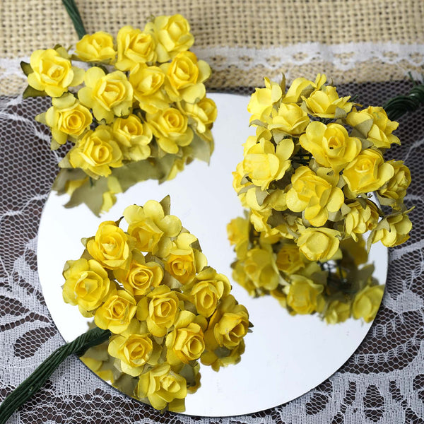 Paper flower wholesale craft flowers efavormart 144 yellow paper mini flower roses mightylinksfo
