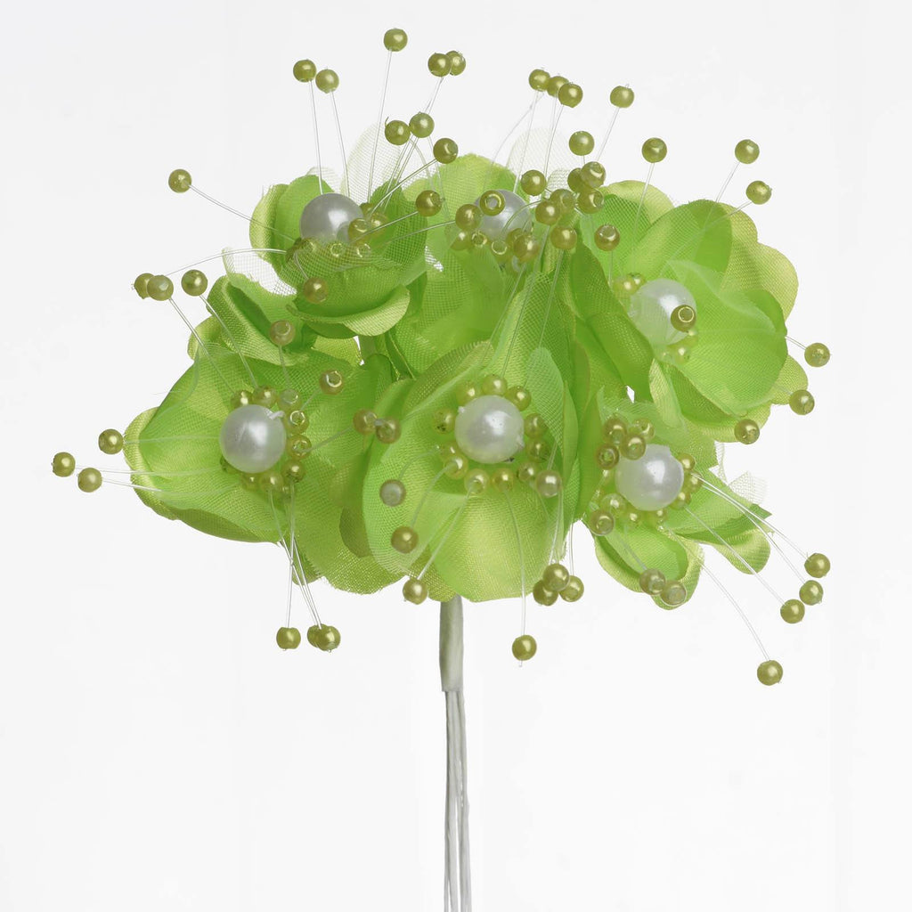 Faux Pearl Decor Flower Braids Corsage Boutineer Craft - Apple Green - 72|Pack