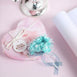 Faux Pearl Decor Flower Braids Corsage Boutineer Craft - Aqua - 72|Pack