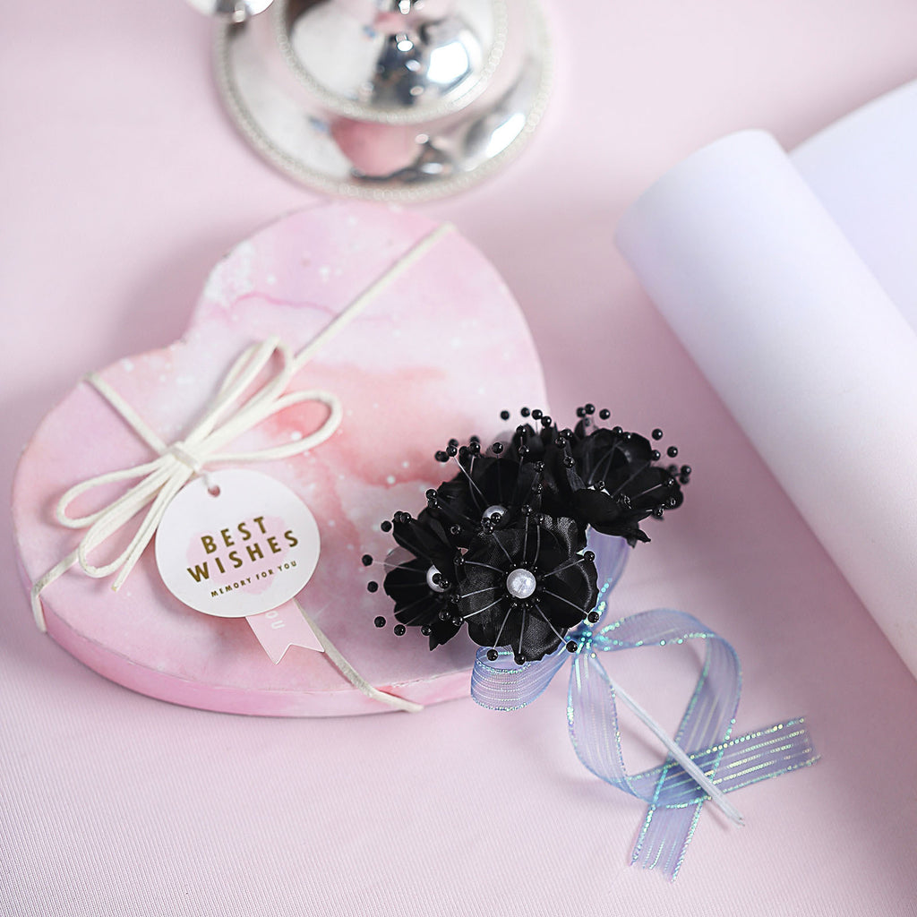 Faux Pearl Decor Flower Braids Corsage Boutineer Craft - Black - 72|Pack