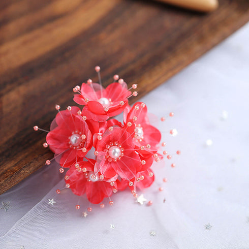 72 Pack Faux Pearl Decor Coral Craft Flowers