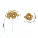 72 Pcs Gold Wired Pearl Rose Flowers For Bridal Bouquet Craft Embellishment