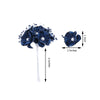 72 Pcs Navy Blue Wired Pearl Rose Flowers For Bridal Bouquet Craft Embellishment