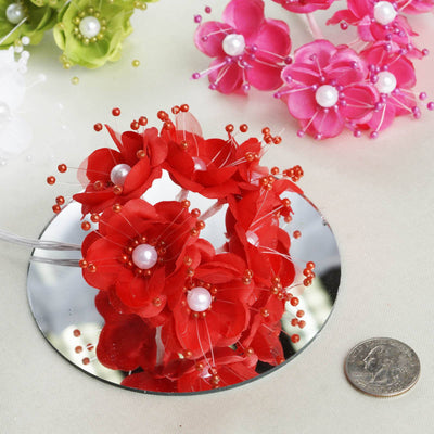 72 Pack Faux Pearl Decor Orange Craft Flowers