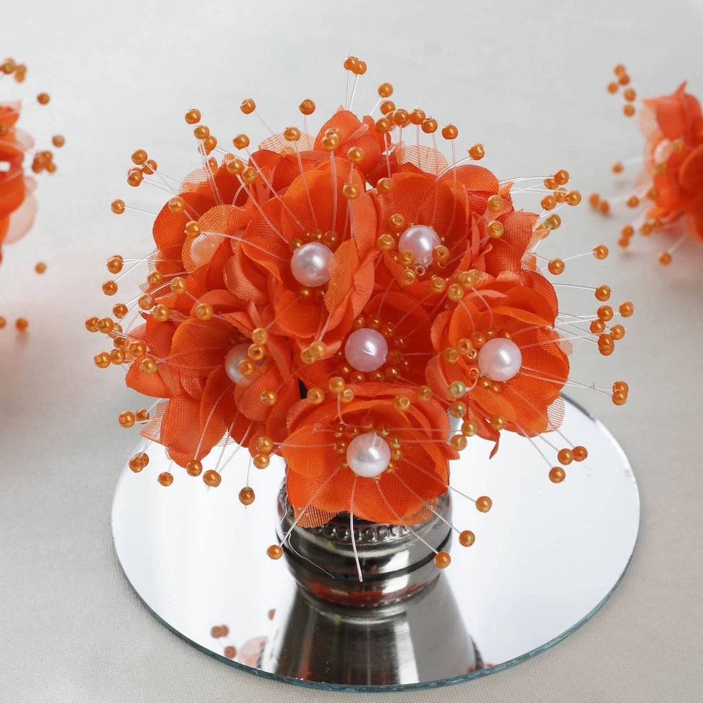 Faux Pearl Decor Flower Braids Corsage Boutineer Craft - Orange - 72|Pack